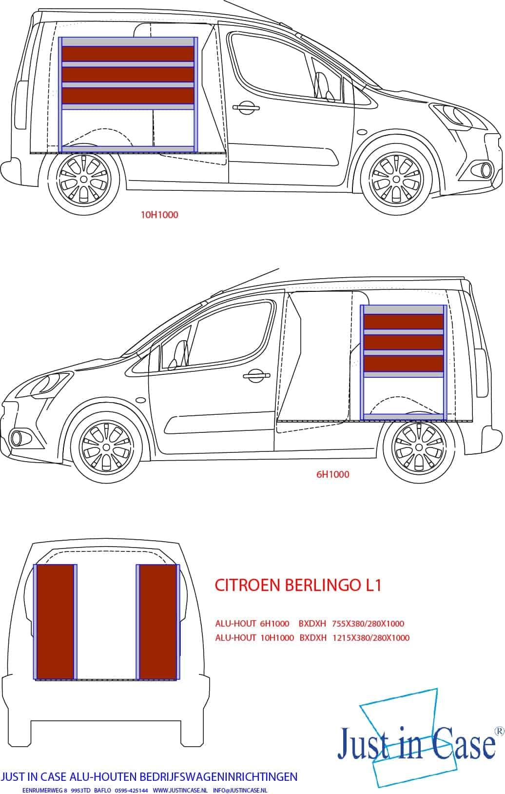Citroën Berlingo Alu-houten inrichting voor bedrijfswagen