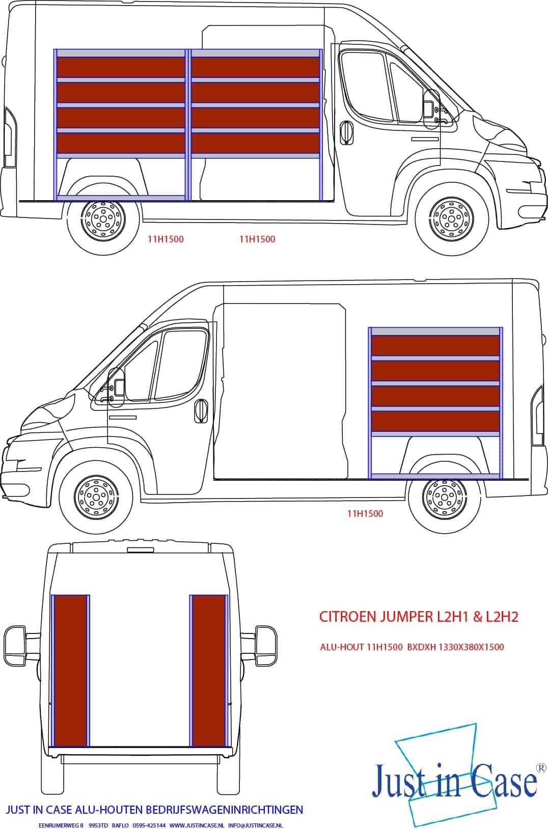 Citroën Jumper inrichting bedrijfswagen met stellingen