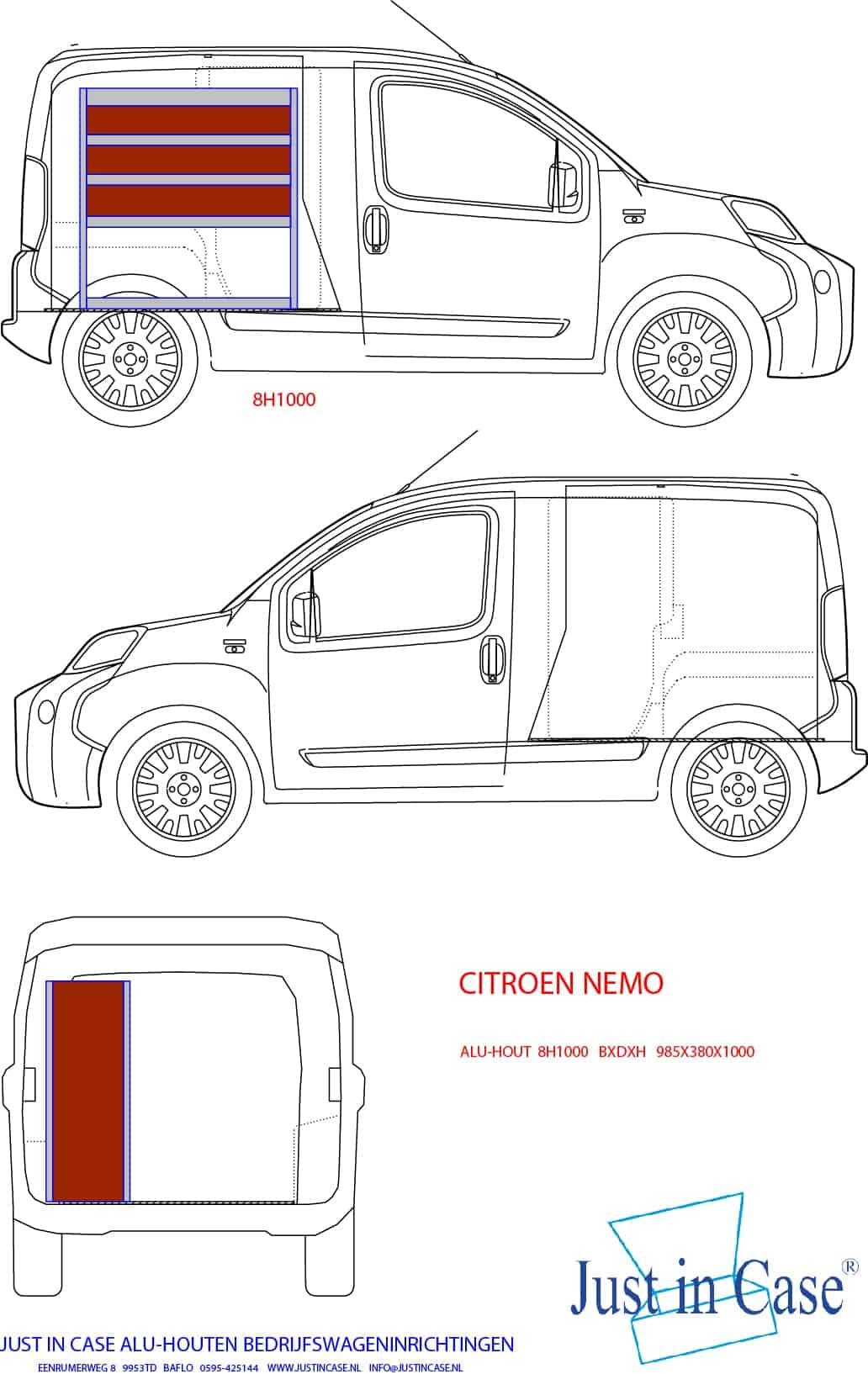 Citroën Nemo bedrijfsbus inrichting