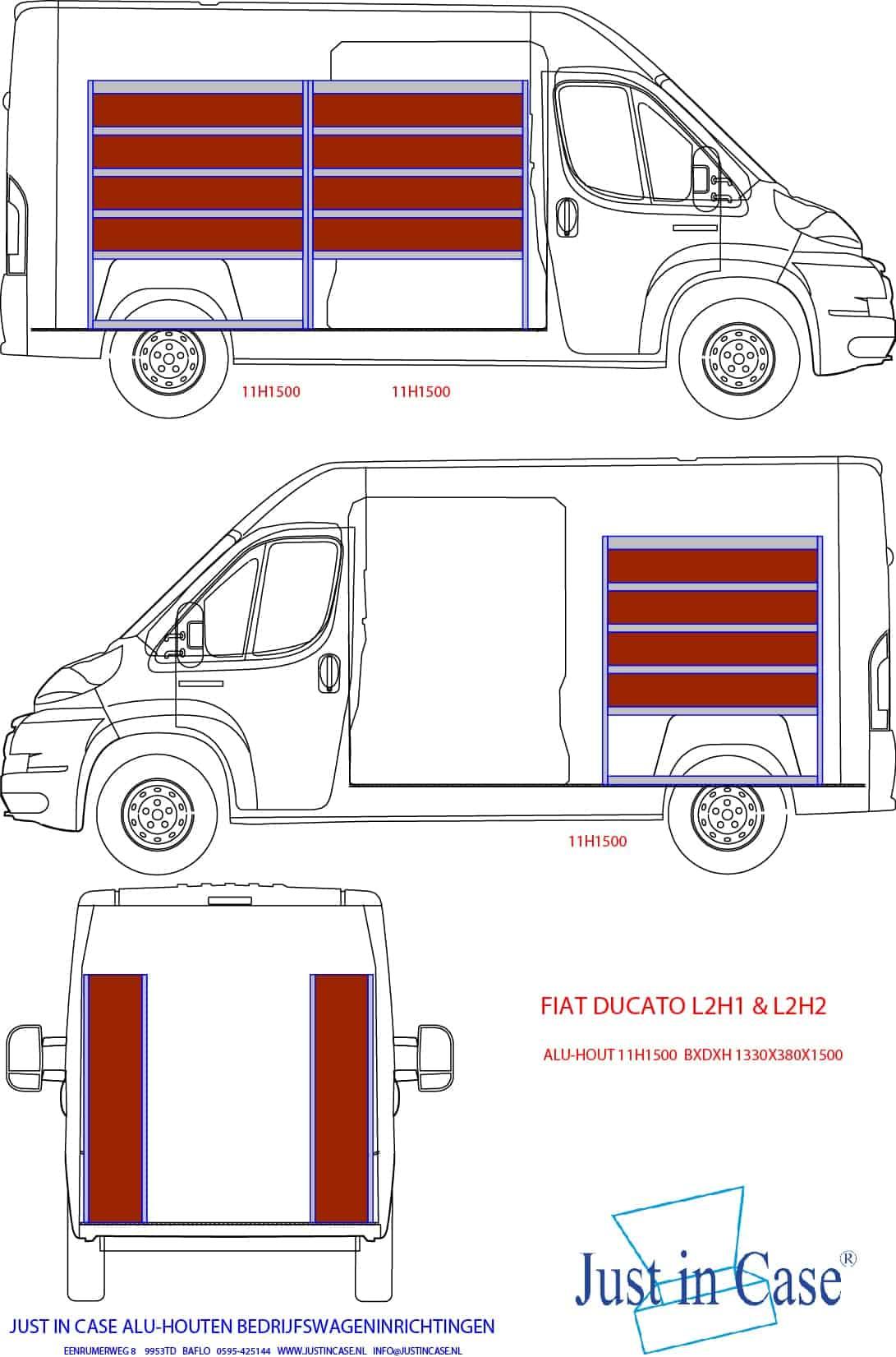 Fiat Ducato inrichting met stellingkasten