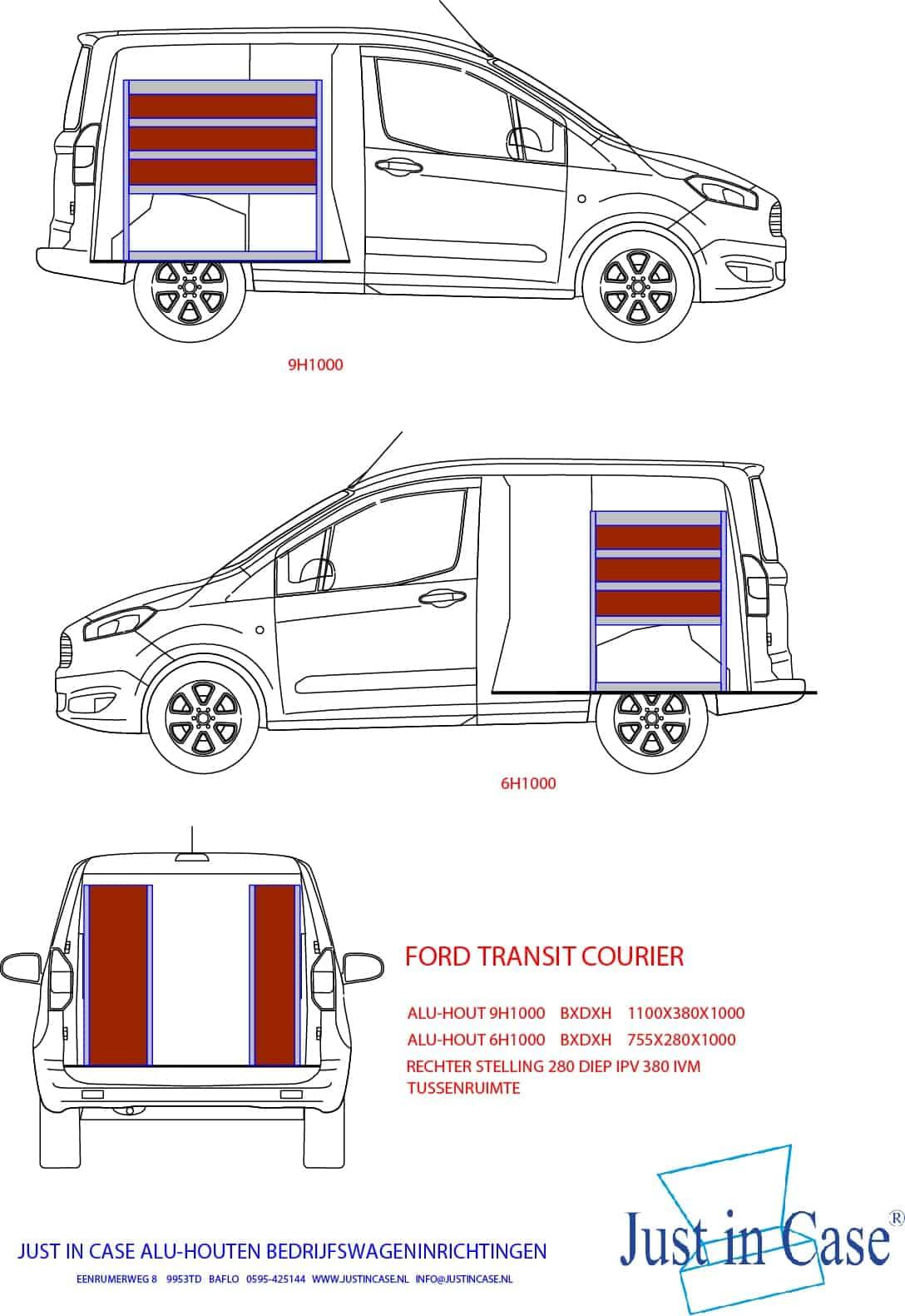 Ford Transit Courier bedrijfswageninrichting