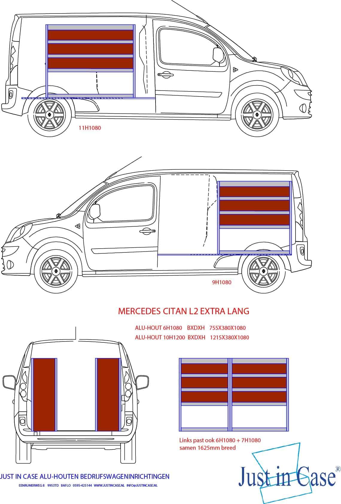 Mercedes Citan (L2) tekening bedrijfswageninrichten
