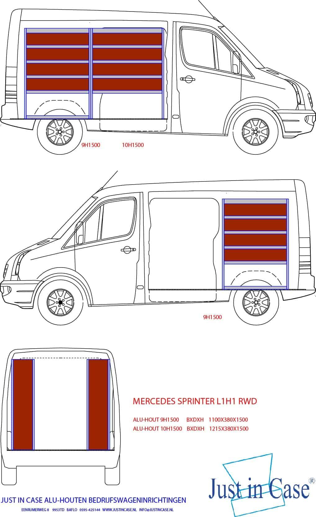 Mercedes Sprinter Bedrijfswagen inrichting schets