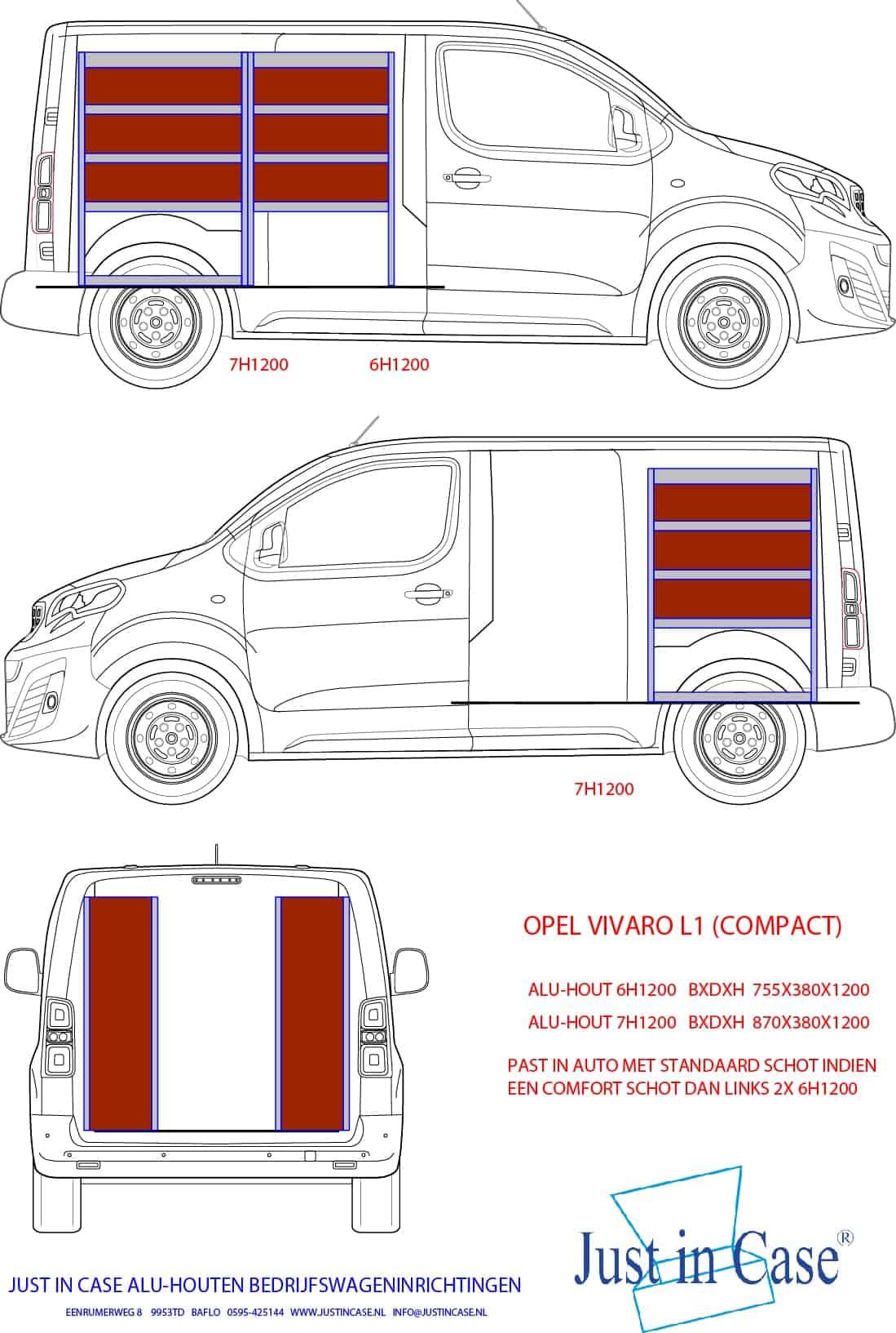 Opel Vivaro bedrijfswageninrichting (schets)