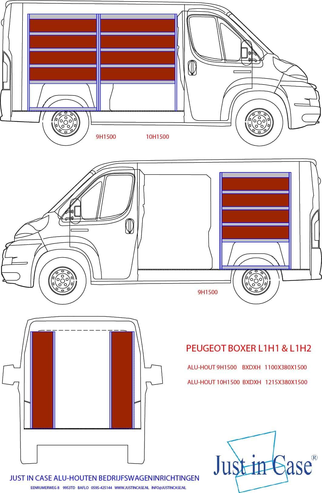 Peugeot Boxer bedrijfswageninrichting tekening