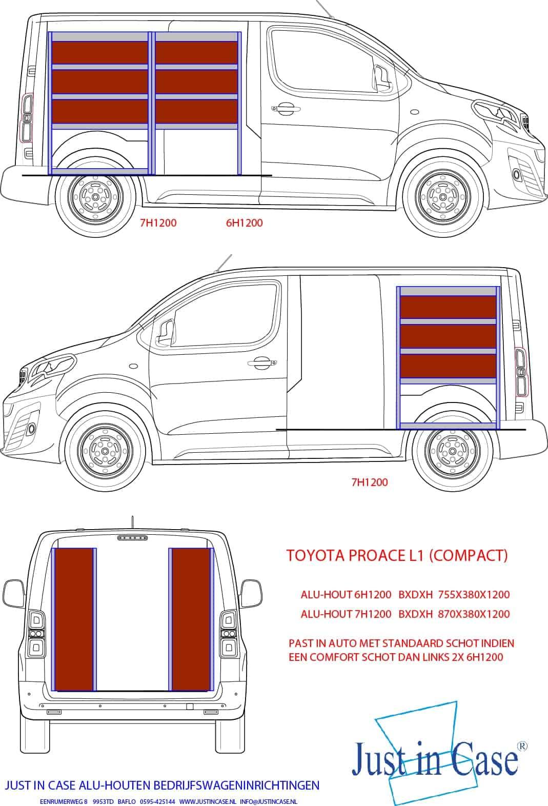 Toyota Pro ACE (Compact) Bedrijfswageninrichting schets
