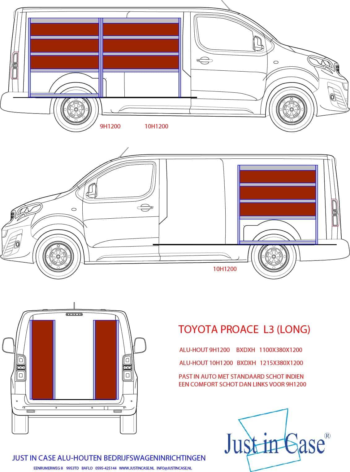 Toyota Pro ACE (Long) Bedrijfswageninrichting schets