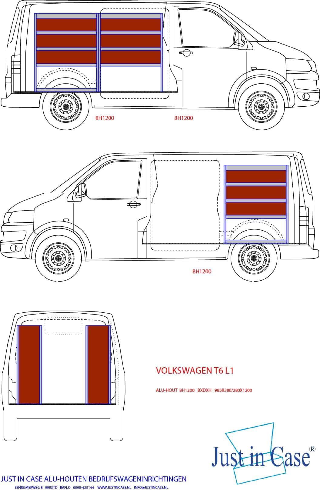 Volkswagen Transporter (Lengte 1) bedrijfswageninrichting schets