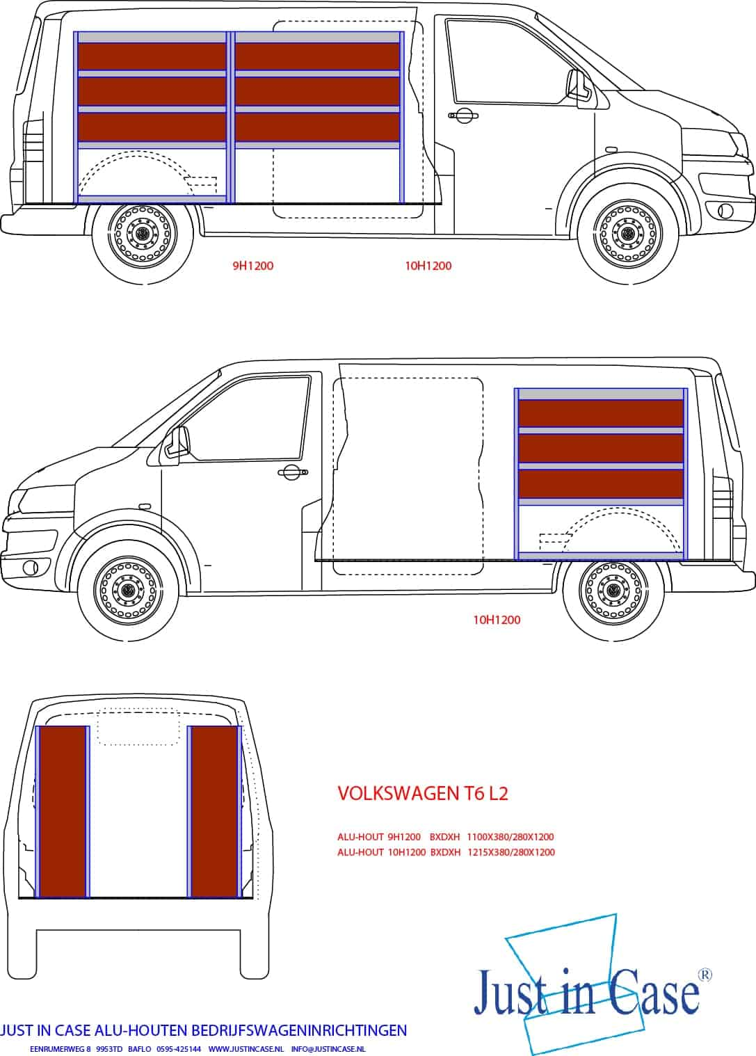 Volkswagen Transporter (Lengte 2) bedrijfswageninrichting schets