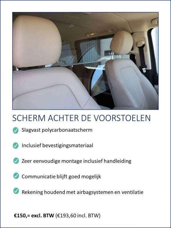 Transparant polycarbonaat preventiescherm voor personenvervoer in onder andere taxi's, personen busjes en personenauto's