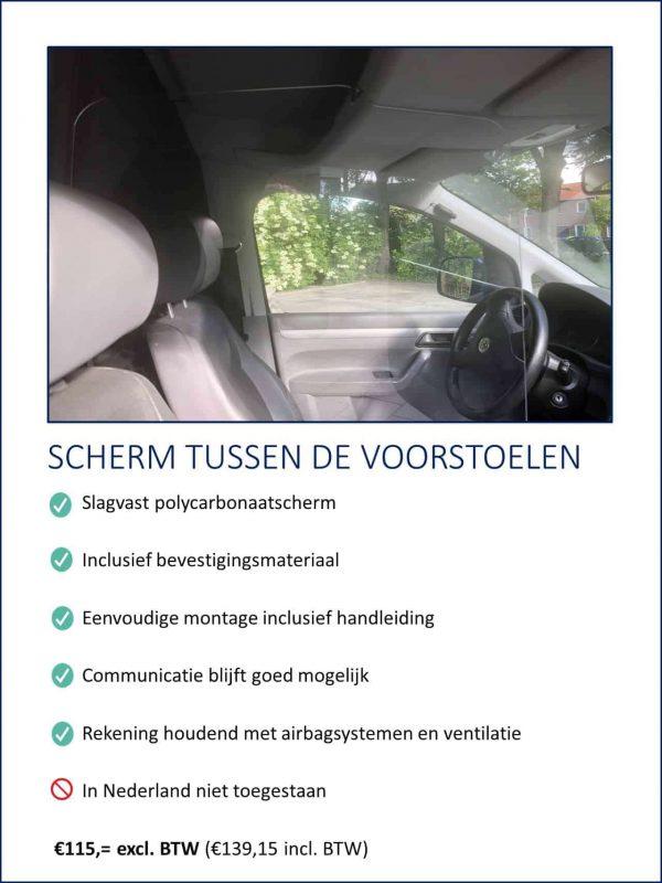 Transparant preventiescherm van polycarbonaat dat beschermt tegen direct aanhoesten of -niesen door een afscherming tussen de chauffeur en de passagier aan te brengen.